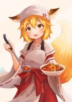 1girl :3 :d animal_ears bangs blonde_hair blush bowl commentary cowboy_shot ears_through_headwear eyebrows_visible_through_hair fang food fox_ears fox_girl fox_tail grey_apron hakama head_scarf highres holding holding_bowl japanese_clothes ladle long_sleeves looking_at_viewer open_mouth red_hakama red_ribbon ribbon ribbon-trimmed_sleeves ribbon_trim senko_(sewayaki_kitsune_no_senko-san) sewayaki_kitsune_no_senko-san shirokun0824 short_hair smile solo tail tareme wide_sleeves yellow_eyes