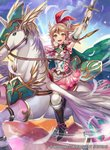 1girl arm_up armor bangs belt blonde_hair blue_sky boots braid breastplate cape cloud commentary_request company_connection copyright_name day dress elbow_gloves emma_(fire_emblem) feathers fire_emblem fire_emblem_cipher gloves headpiece holding holding_sword holding_weapon horn knee_boots long_hair looking_at_viewer matsurika_youko official_art open_mouth outdoors pegasus pegasus_knight short_dress shoulder_armor sky smile solo sword thighhighs weapon white_legwear yellow_eyes