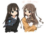 2girls alternate_color animal black_hair brown_eyes brown_hair cardigan color_connection commentary_request eevee eyebrows eyebrows_visible_through_hair green_eyes holding holding_animal idolmaster idolmaster_cinderella_girls iwashi_(ankh) long_hair long_sleeves looking_at_another multiple_girls open_mouth pokemon pokemon_(creature) school_uniform shibuya_rin shimamura_uzuki shiny_pokemon side_ponytail translation_request umbreon upper_body