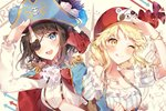 2girls :d ;q ascot bang_dream! bangs bear_eyepatch black_hair blonde_hair blue_cape blue_eyes blue_feathers blue_hat bracelet breasts cape character_print cleavage collarbone commentary_request directional_arrow earrings epaulettes eyepatch flower frilled_sleeves frills hat hat_feather hat_flower head_scarf jewelry locked_arms long_hair long_sleeves map_background medium_hair michelle_(bang_dream!) multiple_girls okusawa_misaki one_eye_closed open_mouth pirate pirate_hat print_hat rose salute shirt short_sleeves smile sparkle suspenders taya_5323203 tongue tongue_out tsurumaki_kokoro upper_body white_background white_flower white_rose white_shirt yellow_eyes