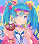 1girl aqua_eyes aqua_hair aqua_nails beads beamed_eighth_notes bow candy candy_hair_ornament cat collar collarbone cube cupcake doughnut eighth_note food food_themed_hair_ornament fruit hair_ornament hatsune_miku heart heart_hair_ornament heiwa_(murasiho) holding holding_food holding_lollipop jacket lollipop long_hair looking_at_viewer macaron macaron_hair_ornament musical_note musical_note_hair_ornament nail_polish necktie parted_lips pink_jacket smile solo strawberry swirl_lollipop twintails upper_body very_long_hair vocaloid wrist_cuffs