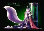 1girl animal_ears closed_mouth detached_sleeves energy_drink fox_ears fox_tail highres japanese_clothes kazuki_seihou kimono kneeling long_hair looking_at_viewer looking_back monster_energy original silver_hair solo tabi tail tail_raised yellow_eyes