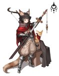 1boy absurdres ahoge animal animal_ear_fluff animal_ears animal_request armored_boots armored_gloves arrow baggy_pants bandolier belt belt_pouch black_hair boots bow_(weapon) cape collared_cape commentary_request greaves highres holding holding_sword holding_weapon korean_commentary looking_at_viewer loveoen12 original pants pouch quiver red_cape red_eyes red_scarf scarf sheath short_hair simple_background standing sword tail unsheathing vambraces weapon white_background