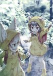 2girls alternate_costume animal_ears backpack bag black_hair blonde_hair boots commentary common_raccoon_(kemono_friends) ears_through_headwear elbow_gloves eyebrows_visible_through_hair fang fennec_(kemono_friends) fox_ears fur_collar fur_trim gloves grey_hair highres kemono_friends kolshica multicolored_hair multiple_girls neck_ribbon pointing raccoon_ears raccoon_tail rain raincoat randoseru ribbon rubber_boots short_hair tail