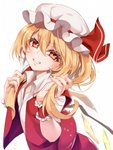 1girl asutora bangs blonde_hair blush commentary_request crystal eyebrows_visible_through_hair eyelashes eyes_visible_through_hair flandre_scarlet grin hair_between_eyes hands_up hat hat_ribbon head_tilt highres holding holding_hair long_hair looking_at_viewer mob_cap one_side_up parted_lips red_eyes red_ribbon red_skirt red_vest ribbon shirt short_sleeves side_ponytail simple_background skirt skirt_set smile solo touhou vest white_background white_hat white_shirt wing_collar wings wrist_cuffs