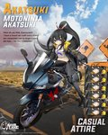 1girl akatsuki_(azur_lane) akatsuki_(motoninja_akatsuki)_(azur_lane) alternate_costume azur_lane black_gloves black_hair black_jacket black_pants boots breasts choker cleavage closed_mouth cloud cloudy_sky crop_top english_commentary english_text expressions eyepatch floating_hair gloves gloves_removed ground_vehicle hair_ornament highres holding holding_weapon jacket kunai long_hair long_sleeves looking_at_viewer medium_breasts midriff motor_vehicle motorcycle navel official_art on_motorcycle ootsuki_momiji open_clothes open_jacket pants ponytail puffy_sleeves red_eyes riding road road_sign shirt sidelocks sign sky solo stomach very_long_hair weapon white_shirt
