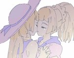2girls ankea_(a-ramo-do) bangs blonde_hair braid closed_eyes crying dual_persona face-to-face hat imminent_kiss kiss lillie_(pokemon) multiple_girls pokemon pokemon_(game) pokemon_sm ponytail school_uniform selfcest simple_background tears white_hat yuri