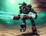 2010 anthony_scroggins_(shimmering_sword) arm_cannon autocannon battle battletech cloud commentary dated energy_beam energy_cannon firing insignia jupiter marauder mecha moon particle_projector_cannon planet realistic redesign roundel science_fiction signature sun walker walking weapon wolf's_dragoons