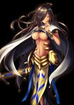 1girl absurdres ahoge armlet black_hair bracelet breasts cape closed_mouth cowboy_shot dark_skin fate/prototype fate/prototype:_fragments_of_blue_and_silver fate_(series) genderswap genderswap_(mtf) hair_over_one_eye highres jewelry large_breasts long_hair looking_at_viewer midriff navel orange_eyes ozymandias_(fate) pelvic_curtain rai_(newtype_xm-x1) solo staff standing stomach very_long_hair