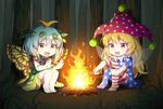 2girls :d american_flag_dress american_flag_legwear antennae barefoot black_dress blonde_hair blue_hair butterfly_wings campfire caramell0501 chibi clownpiece commentary_request dress eternity_larva eyebrows_visible_through_hair fairy_wings fire forest full_body grass green_dress hair_between_eyes hands_up hat holding horizontal-striped_legwear horizontal_stripes jester_cap knees_up leaf leaf_on_head long_hair multicolored multicolored_clothes multicolored_dress multiple_girls nature neck_ruff no_shoes open_mouth orange_eyes outdoors pantyhose polka_dot_hat purple_hat red_eyes short_dress short_hair short_sleeves sitting sleeveless sleeveless_dress smile star star_print striped thighs torch touhou very_long_hair wings