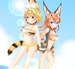 2girls :3 animal_ear_fluff animal_ears bangs bare_shoulders bikini bikini_under_clothes black_jacket blonde_hair blue_eyes blue_sky blush breasts brown_bikini brown_choker brown_eyes brown_gloves brown_hair caracal_(kemono_friends) chestnut_mouth choker cleavage closed_mouth cloud collarbone commentary day dutch_angle elbow_gloves eyebrows_visible_through_hair fingerless_gloves frilled_bikini frills gloves hair_between_eyes hand_on_hip highres jacket kemono_friends medium_breasts multicolored_hair multiple_girls navel open_clothes open_jacket outdoors parted_lips serval_(kemono_friends) serval_ears serval_tail shin01571 sky smile sun sunlight swimsuit tail two-tone_hair water white_hair yellow_bikini