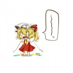 1girl alternate_wings bad_id bad_pixiv_id blonde_hair chibi eiri_(eirri) flandre_scarlet hat highres melting o_o short_hair side_ponytail solo tears touhou wings