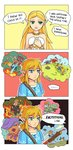 ... 1boy 1girl 3koma :d :  bare_shoulders beam bear bird blonde_hair blue_eyes blue_tunic blush bokoblin bracelet chicken clenched_teeth closed_mouth club collarbone comic commentary english_commentary english_text explosion falling fire food fruit gerudo_link grass green_eyes guardian_(breath_of_the_wild) hands_on_own_chest highres hill holding holding_food holding_fruit jewelry jumping link log long_hair mija necklace norue open_mouth pointy_ears princess_zelda riding rock short_ponytail simple_background smile sparkle speech_bubble sweat sweatdrop sweating_profusely teeth the_legend_of_zelda the_legend_of_zelda:_breath_of_the_wild thought_bubble torch tripping tunic watermelon weapon