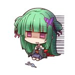 1girl bangs bare_shoulders bra butterfly_hair_ornament chibi depressed detached_sleeves empty_eyes green_hair hair_ornament hair_ribbon hands_on_own_chest hemogurobin_a1c japanese_clothes long_hair long_sleeves looking_down murasame_(senren) open_mouth purple_eyes ribbon seiza senren_banka shaded_face sitting skirt solo two_side_up underwear wide_sleeves