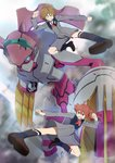 1boy 2girls :d ahoge argentea_(darling_in_the_franxx) blue_eyes blue_legwear brown_footwear brown_hair clenched_teeth darling_in_the_franxx grey_jacket grey_shorts highres jacket kicking light_brown_hair long_sleeves mecha miku_(darling_in_the_franxx) multiple_girls open_mouth pink_x shoes shorts smile socks teeth twintails zorome_(darling_in_the_franxx)