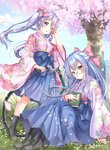2girls :d aoba_chise aoba_project aoba_rena bicycle black_footwear blue_hair blue_hakama blue_sky blush book boots bow cherry_blossoms commentary_request cross-laced_footwear day floral_print flower full_body glasses grass ground_vehicle hair_bow hair_flower hair_ornament hakama hakama_skirt half_updo hand_in_hair highres japanese_clothes kimono knees_up lace-up_boots long_hair long_sleeves looking_at_viewer meiji_schoolgirl_uniform multiple_girls on_grass open_mouth outdoors petals pink_bow pink_kimono purple_eyes red_eyes round_eyewear sakura_moyon siblings silver_hair sisters sitting sky smile spring_(season) standing tree twintails wide_sleeves wind