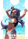 1girl armlet arms_up bare_shoulders beach beads bike_shorts black_hair blue_eyes blue_hair breasts earrings gloves hair_ornament highres hoop_earrings jewelry liline_(liline_01) long_hair midriff multicolored_hair pokemon pokemon_(game) pokemon_swsh rurina_(pokemon) short_shorts shorts small_breasts smile solo sportswear sweat swimsuit tankini two-tone_hair
