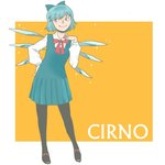 1girl adapted_costume alternate_costume blue_eyes blue_hair cirno ice ice_wings onikobe_rin pantyhose school_uniform short_hair solo touhou wings
