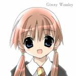 1girl blue_eyes character_name ginny_weasley harry_potter koge_donbo koharuno_kokoro open_mouth red_hair school_uniform solo twintails