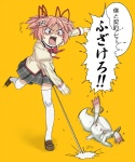 1girl anger_vein angry bad_id bad_pixiv_id ettamu hair_ribbon highres kaname_madoka kyubey mahou_shoujo_madoka_magica mitakihara_school_uniform motion_blur out_of_character pink_hair profanity ribbon school_uniform simple_background thighhighs throwing translated twintails zettai_ryouiki