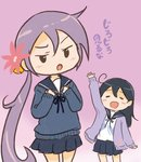 ahoge akebono_(kantai_collection) bell black_hair closed_eyes commentary_request flower hair_bell hair_between_eyes hair_flower hair_ornament kantai_collection long_hair miniskirt otoufu school_uniform serafuku side_ponytail skirt sleeves_past_wrists sweater translated ushio_(kantai_collection) very_long_hair waving_arm