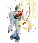 1girl arrow bangs blonde_hair blue_hair bow_(weapon) confetti detached_sleeves earrings feather_trim fire_emblem fire_emblem_heroes fjorm_(fire_emblem_heroes) full_body gradient gradient_hair hair_ornament highres holding holding_bow_(weapon) holding_weapon japanese_clothes jewelry kimono long_sleeves looking_away maeshima_shigeki multicolored_hair obi official_art open_mouth sandals sash shiny shiny_hair short_hair smile snowflake_print snowflakes solo sparkle standing tabi transparent_background weapon white_legwear wide_sleeves