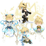 1boy animal_ears barefoot blonde_hair blue_eyes bowl cat_ears closed_eyes headset instrument kagamine_len kagamine_len_(append) magical_girl magical_nuko-lenlen_(vocaloid) male_focus midriff multiple_persona navel parted_lips partially_submerged piano project_diva_(series) punkish_(module) scarf shirotsugu thighhighs vocaloid vocaloid_append water