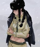 1girl anchor black_hair braid closed_mouth crossed_arms fur_hat hair_over_shoulder hat highres jacket jacket_on_shoulders jewelry kantai_collection kitakami_(kantai_collection) long_hair long_sleeves navel neckerchief papakha remodel_(kantai_collection) ring sailor_collar school_uniform serafuku sidelocks single_braid skirt snow solo zippo_teifujou
