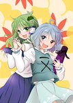 2girls back-to-back blue_eyes blue_hair blue_skirt blue_vest blush commentary detached_sleeves eyebrows eyebrows_visible_through_hair green_eyes green_hair happy heterochromia holding_hands interlocked_fingers juliet_sleeves karakasa_obake kochiya_sanae leaf leaf_background long_hair long_sleeves multiple_girls nontraditional_miko open_mouth puffy_sleeves red_eyes short_hair skirt tatara_kogasa touhou umbrella vest yuzuna99