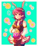 ... 1girl adapted_costume alternate_costume animal_ears aqua_background armlet black_legwear bracelet breasts bunny_ears bunny_hair_ornament cleavage cowboy_shot dress easter easter_egg egg fire_emblem fire_emblem:_seima_no_kouseki fire_emblem_heroes floral_background frilled_dress frills hair_ornament hairband hzk_(ice17moon) jewelry lute_(fire_emblem) medium_breasts pantyhose parted_lips purple_eyes purple_hair see-through short_dress short_hair sidelocks simple_background sleeveless sleeveless_dress solo spoken_ellipsis