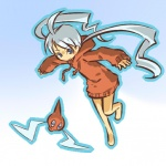 1girl ahoge barefoot blue_eyes blush_stickers hitec hood hoodie long_hair moemon outline personification pokemon pokemon_(creature) pokemon_(game) pokemon_dppt rotom smile sweatshirt twintails very_long_hair white_hair