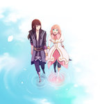 1boy 1girl black_hair boots estellise_sidos_heurassein gloves green_eyes highres holding_hands long_hair pink_hair short_hair smile tales_of_(series) tales_of_vesperia tyokityoki yuri_lowell