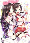 2girls ;d a.i._channel bangs bare_shoulders belt belt_buckle black_bow boots bow brown_hair buckle closed_mouth commentary_request confetti detached_sleeves dual_persona eyebrows_visible_through_hair fingernails green_eyes hair_ribbon hairband hands_together highres kizuna_ai kizuna_ai_(chinese) lace lace-trimmed_legwear lace-trimmed_sleeves long_hair long_sleeves multicolored_hair multiple_girls one_eye_closed open_mouth pink_hair pink_hairband pink_ribbon red_belt red_shorts ribbon round_teeth sailor_collar sakuragi_ren shirt short_shorts short_sleeves shorts sleeveless sleeveless_shirt sleeves_past_wrists smile streaked_hair striped striped_bow teeth thigh_boots thighhighs upper_teeth v very_long_hair virtual_youtuber white_background white_footwear white_legwear white_sailor_collar white_shirt white_shorts white_sleeves