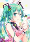 1girl abstract_background animal aqua_eyes aqua_hair bangs bare_shoulders black_hat blush bunny closed_mouth clover_hair_ornament colored_eyelashes dress eyebrows_visible_through_hair four-leaf_clover_hair_ornament green_nails hair_ornament hat hatsune_miku highres holding holding_animal jin_young-in long_hair looking_at_viewer mini_hat mini_top_hat nail_polish neck_ribbon pink_dress pink_neckwear pink_ribbon pom_pom_(clothes) ribbon shiny shiny_hair sleeveless sleeveless_dress smile solo top_hat twintails two-handed upper_body vertical-striped_hat very_long_hair vocaloid wrist_cuffs
