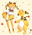 1girl :o ampharos black_neckwear black_ribbon blonde_hair breasts crossover hair_ribbon hat high_heels hitsukuya large_breasts leaning_forward looking_at_viewer mahou_shoujo_madoka_magica mini_hat neck_ribbon pleated_skirt pokemon pokemon_(creature) ribbed_legwear ribbon shirt simple_background skirt standing thighhighs tomoe_mami twintails white_footwear white_shirt yellow_background yellow_eyes yellow_legwear yellow_skirt