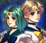 2girls aqua_eyes aqua_hair bishoujo_senshi_sailor_moon blonde_hair blue_eyes bow circlet graphite_(medium) highres kaiou_michiru light_smile multiple_girls oquno_airi outer_senshi sailor_collar sailor_neptune sailor_senshi sailor_uranus short_hair super_sailor_neptune super_sailor_uranus ten'ou_haruka traditional_media very_short_hair