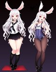 1girl animal_ears ass_visible_through_thighs bad_id bad_twitter_id black_background black_footwear black_legwear blush breasts bunny_ears collarbone covered_navel elin_(tera) grimgrim high_heels hips jpeg_artifacts kneehighs legs long_hair long_sleeves looking_at_viewer mary_janes multiple_views name_tag old_school_swimsuit one-piece_swimsuit pantyhose pantyhose_under_swimsuit red_eyes sailor_collar school_swimsuit school_uniform serafuku shoes simple_background small_breasts smile standing swimsuit tera_online variations white_hair