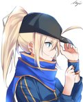 1girl ahoge artoria_pendragon_(all) black_hat blonde_hair blue_eyes blue_scarf fate/grand_order fate_(series) from_side hair_between_eyes hat high_ponytail highres long_hair meimuu mysterious_heroine_x scarf signature simple_background solo upper_body white_background wristband
