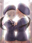 2girls backlighting bad_id bad_pixiv_id blonde_hair blue_eyes brown_eyes character_name hat highres holding_hands kantai_collection koge_donbo long_sleeves looking_at_viewer looking_back military military_uniform multiple_girls neckerchief red_hair sailor_collar sailor_hat short_hair sparkle twitter_username uniform window z1_leberecht_maass_(kantai_collection) z3_max_schultz_(kantai_collection)