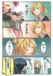4girls abukuma_(kantai_collection) afloat ahoge black_hair blonde_hair blue_eyes breasts cleavage comic commentary_request double_bun explosion kantai_collection kinu_(kantai_collection) long_hair machinery multiple_girls negahami ocean open_mouth pleated_skirt red_hair remodel_(kantai_collection) school_uniform serafuku short_hair skirt sweat translated turret twintails ushio_(kantai_collection) yura_(kantai_collection)