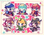 blonde_hair cape chibi dark_pit fire_emblem fire_emblem:_fuuin_no_tsurugi fire_emblem:_monshou_no_nazo fire_emblem:_souen_no_kiseki hat headband ike kid_icarus kid_icarus_uprising link looking_at_viewer mamkute marth pit_(kid_icarus) pointy_ears red_eyes repikinoko roy_(fire_emblem) short_hair star super_smash_bros. the_legend_of_zelda the_legend_of_zelda:_twilight_princess wings