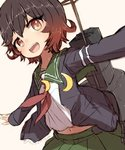 1girl alchera black_jacket brown_hair commentary_request crescent crescent_moon_pin gradient_hair green_sailor_collar green_skirt jacket kantai_collection looking_at_viewer machinery multicolored_hair mutsuki_(kantai_collection) navel neckerchief open_mouth outstretched_arms pleated_skirt red_eyes red_hair red_neckwear remodel_(kantai_collection) sailor_collar school_uniform serafuku short_hair skirt smile smokestack solo upper_teeth