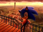 1boy evening from_above gloves green_eyes male_focus no_humans nose one_eye_closed railing rasein scenery smile solo sonic sonic_the_hedgehog tower town white_gloves