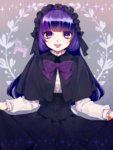 1girl black_capelet black_ribbon black_skirt blue_hair bow capelet corset gothic_lolita headdress light_smile lips lolita_fashion long_hair long_sleeves looking_at_viewer marie_marie multicolored_hair purple_bow purple_eyes purple_hair ribbon shizutani skirt skirt_hold smile sound_horizon vanishing_starlight