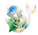 1girl blue_hair blush chibi commentary_request drill_hair full_body head_fins japanese_clothes kimono mermaid monster_girl obi sash smile solid_oval_eyes solo touhou wakasagihime wide_sleeves yamaton_kyouju