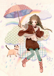 1girl blush boots braid brown_eyes brown_hair cat cloud collar jewelry long_hair necklace open_mouth original pantyhose rainbow rubber_boots safety_pin shorts siro smile solo twin_braids twintails umbrella
