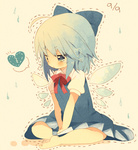 1girl :t bad_id bad_pixiv_id barefoot blue_eyes blue_hair bow broken_heart chibi cirno dotted_line feet hair_bow heart indian_style nochita_shin pout short_hair sitting solo tears touhou v_arms water_drop wings