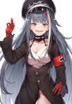1girl :d absurdres armband azur_lane bangs black_cola black_headwear black_jacket blue_eyes breasts cleavage collarbone commentary_request deutschland_(azur_lane) eyebrows_visible_through_hair fangs goggles goggles_on_headwear grey_hair groin hand_up hat highres jacket leotard long_hair long_sleeves looking_at_viewer medium_breasts multicolored_hair open_mouth peaked_cap red_hair simple_background sleeves_past_wrists smile solo streaked_hair very_long_hair white_background white_hair white_leotard