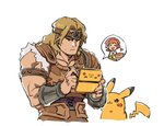 1boy akiyoku armor belt blonde_hair blue_eyes castlevania chibi cooking_mama gen_1_pokemon handheld_game_console headband long_hair looking_at_viewer male_focus muscle nintendo_3ds open_mouth pikachu pokemon pokemon_(creature) short_hair simon_belmondo simple_background smile solo super_smash_bros. white_background
