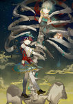 2girls blue_eyes blue_hair blue_skirt bracelet breasts brown_shoes cleavage fingernails hair_rings happytreefriendspikapika hat jewelry jiangshi kaku_seiga long_fingernails miyako_yoshika multiple_girls ofuda outstretched_arms red_eyes shawl shoes short_hair skeleton skirt star stitches touhou wide_sleeves zombie_pose